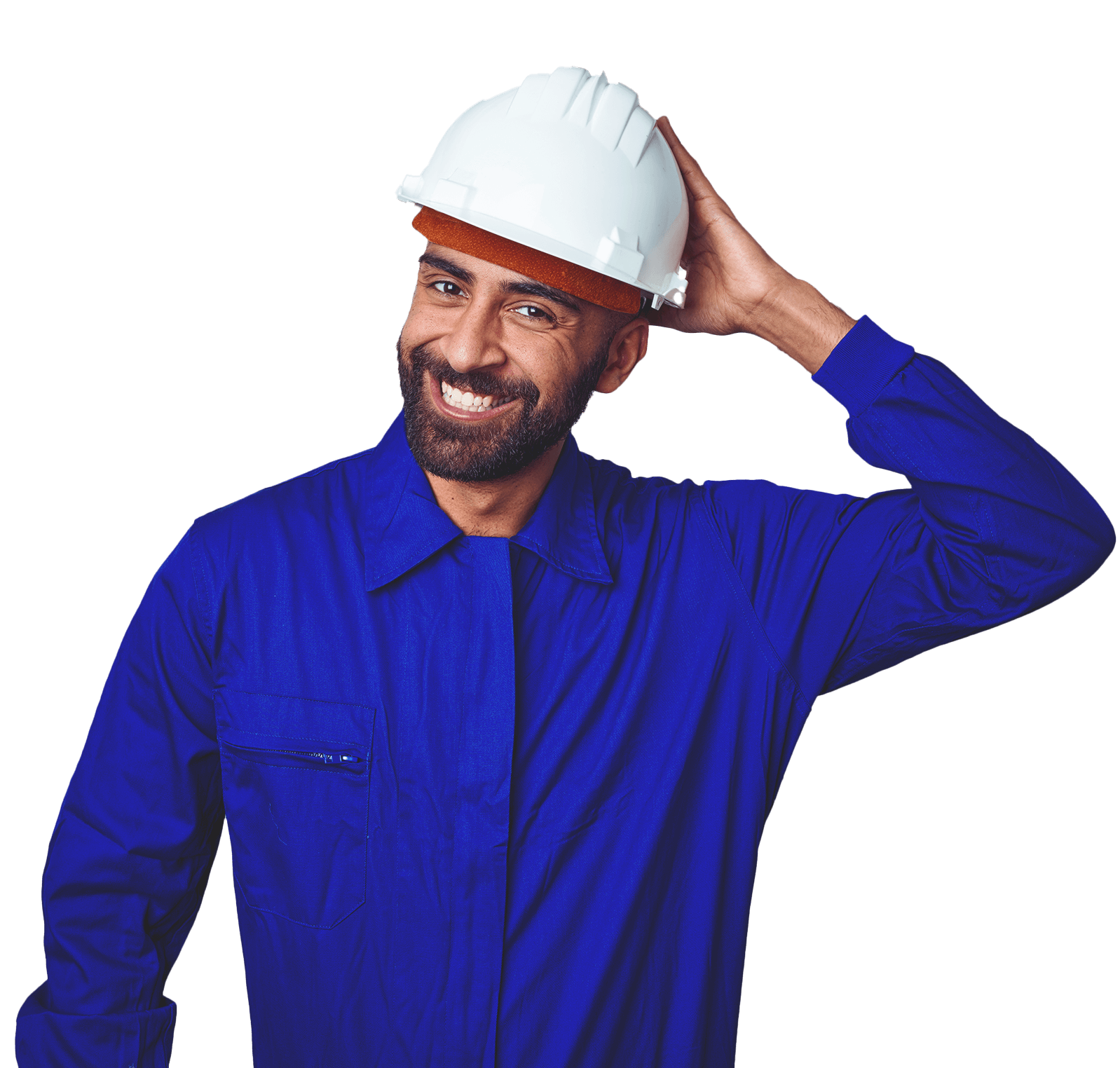 Man with close-cropped beard wearing a bright blue shirt and white construction hat, smiling. His left hand rests against the back of his head.