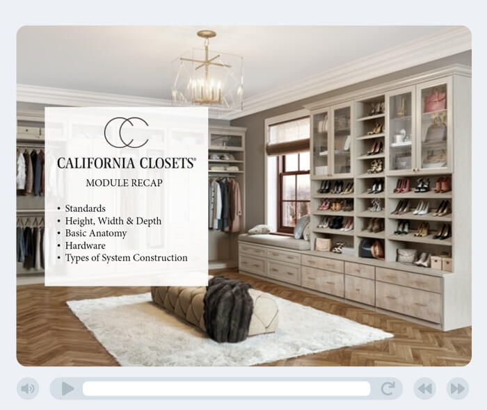 Screenshot of the California Closets SCORM course created by Flare Learning