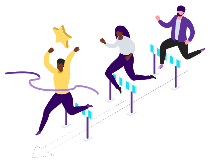 Illustration of three figures in a line, running over hurdles. The figure in the lead is breaking through a finishing line and has a large yellow star overhead.