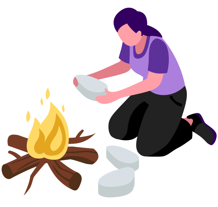 Illustration of a woman creating a campfire.
