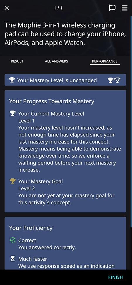 OttoLearn Activity information on progress toward Mastery