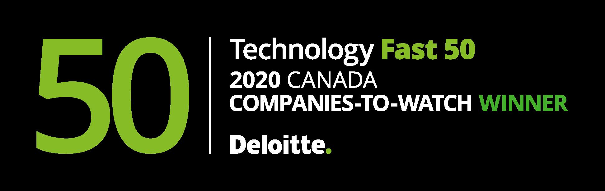 Deloitte Technology Fast 50 2020 Canada Companies-to-Watch award