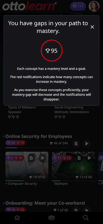 OttoLearn learner-side showing how many gaps in path to mastery