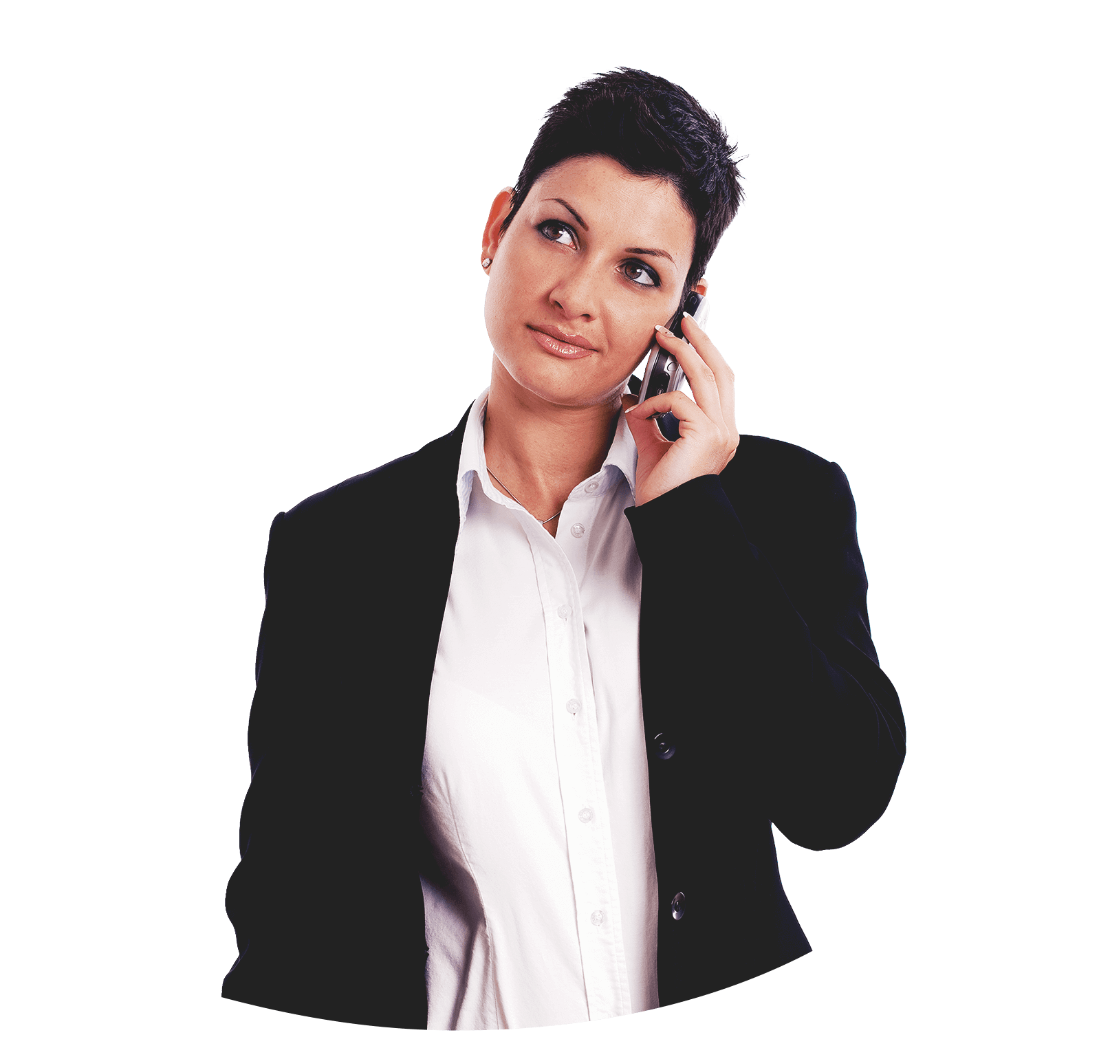 Woman with short black hair in a black suit jacket and white shirt, talking on her mobile phone.