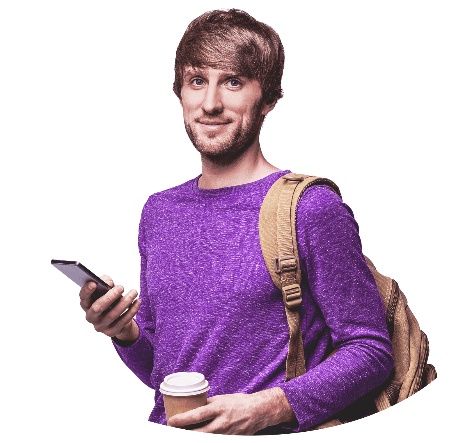 College student in a purple shirt with short, shaggy hair. He wears a brown backpack and in his left hand holds a coffee cup. In his right hand he holds a mobile phone.