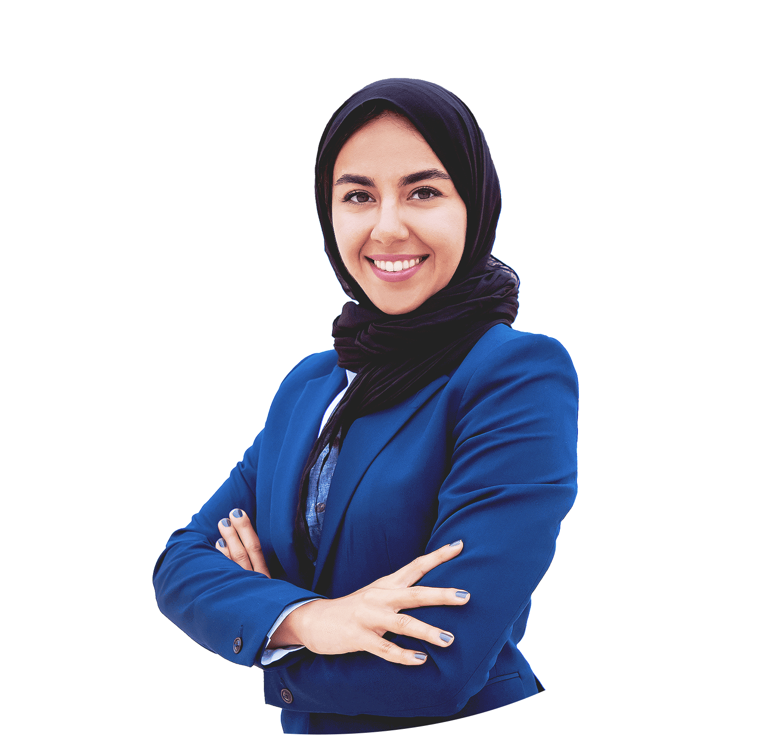 Woman with a broad smile wearing a hijab and blue suit jacket. Her arms are crossed.