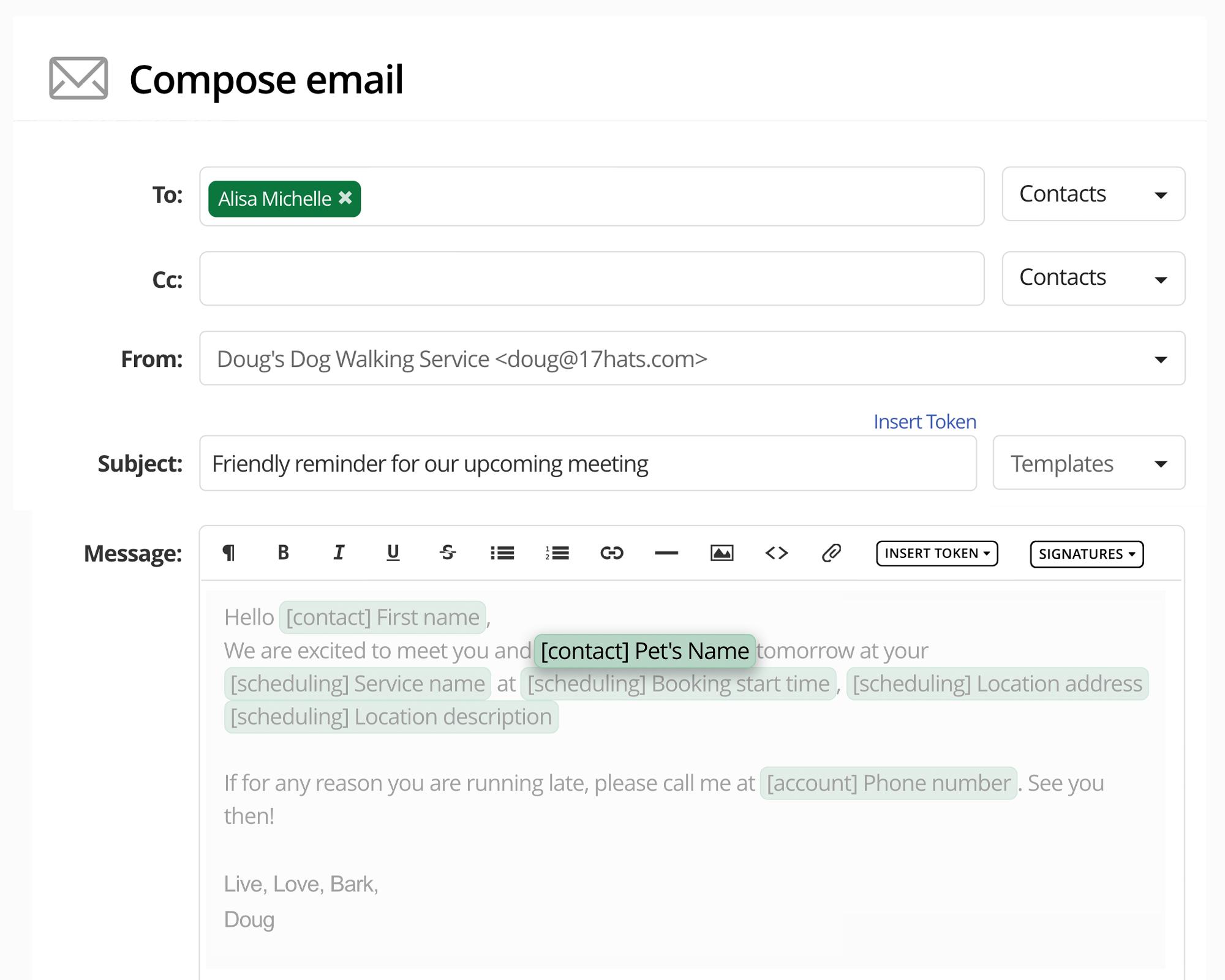 17hats Custom Fields In An Email