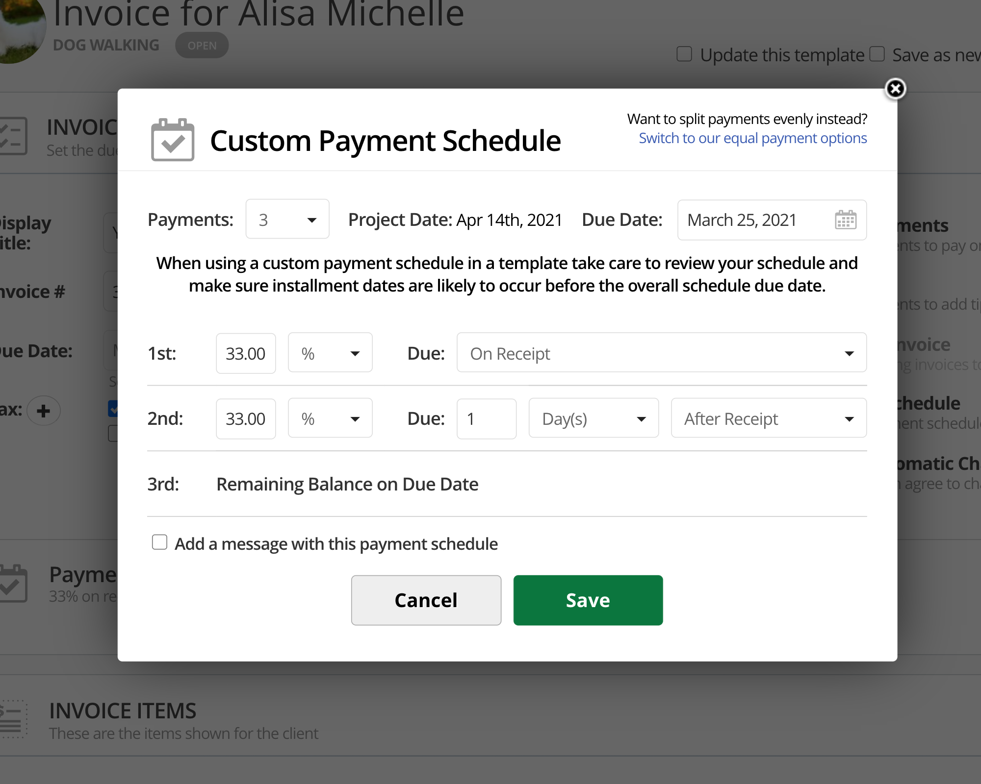 17hats Payment Schedules For Invoices