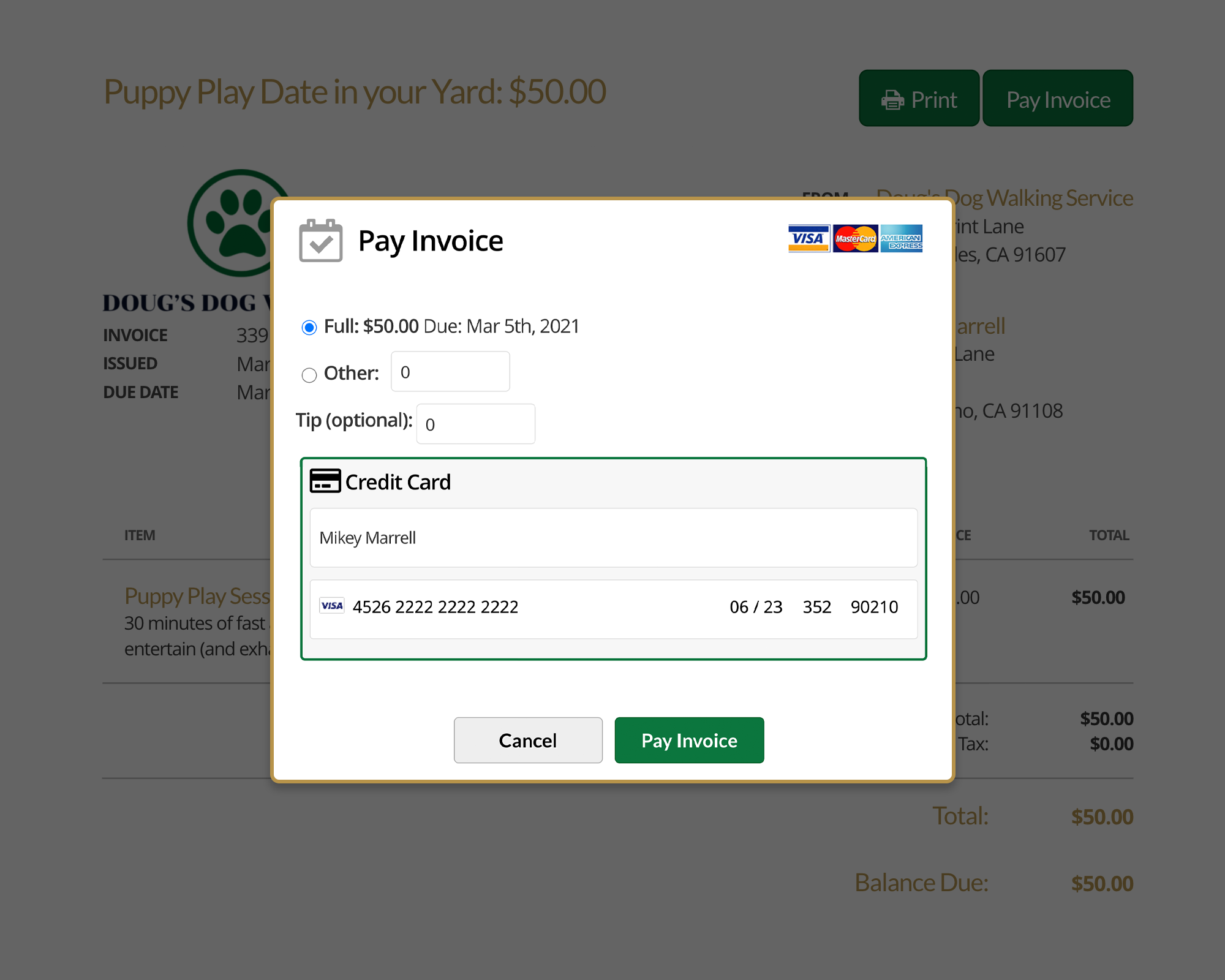 17hats Online Payments With Credit Card