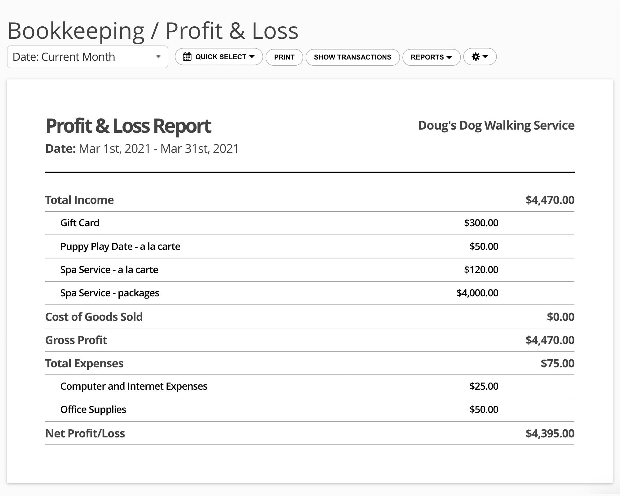 17hats Profit/Loss Report