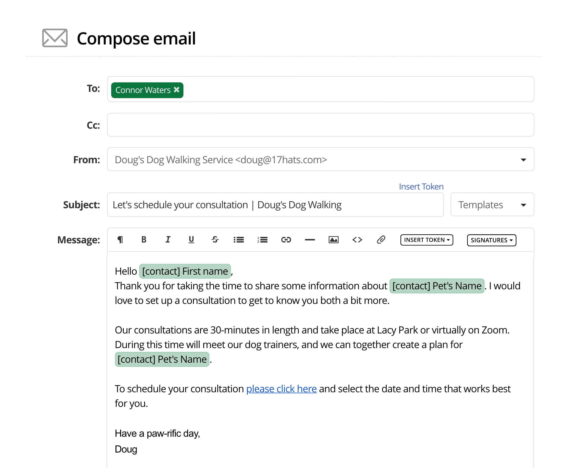 Sending an email in 17hats