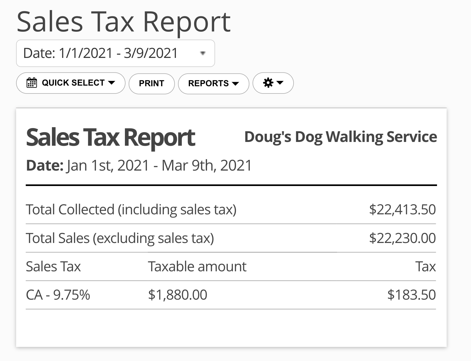 17hats Sales Tax Report
