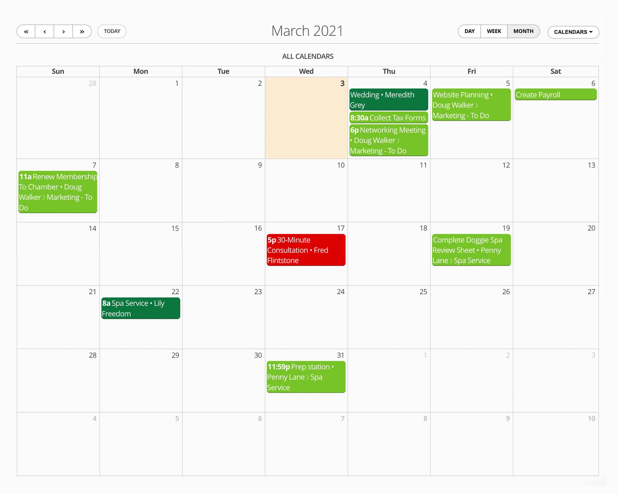 17hats Calendar Organization