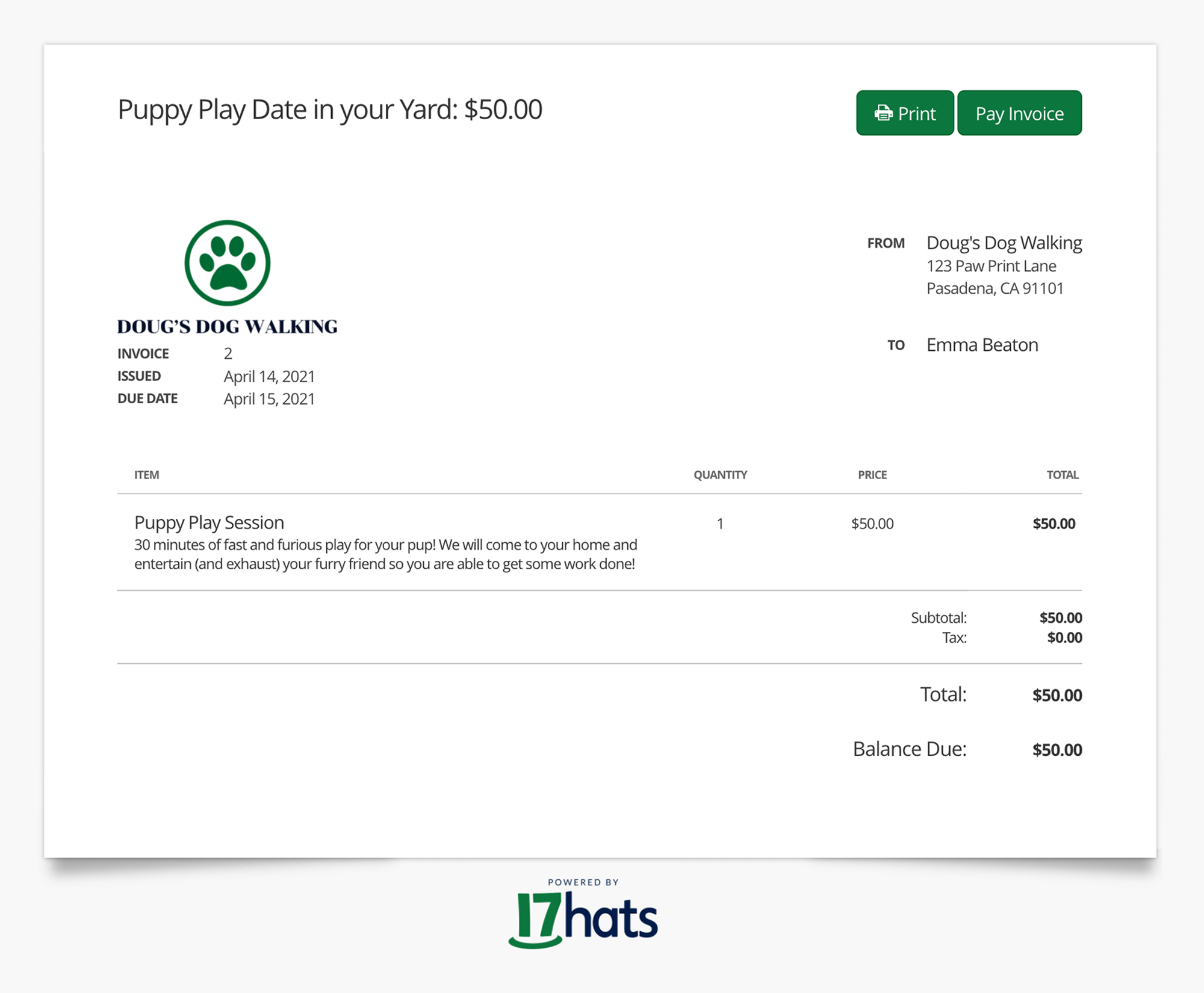 17hats Live Invoice For Level One