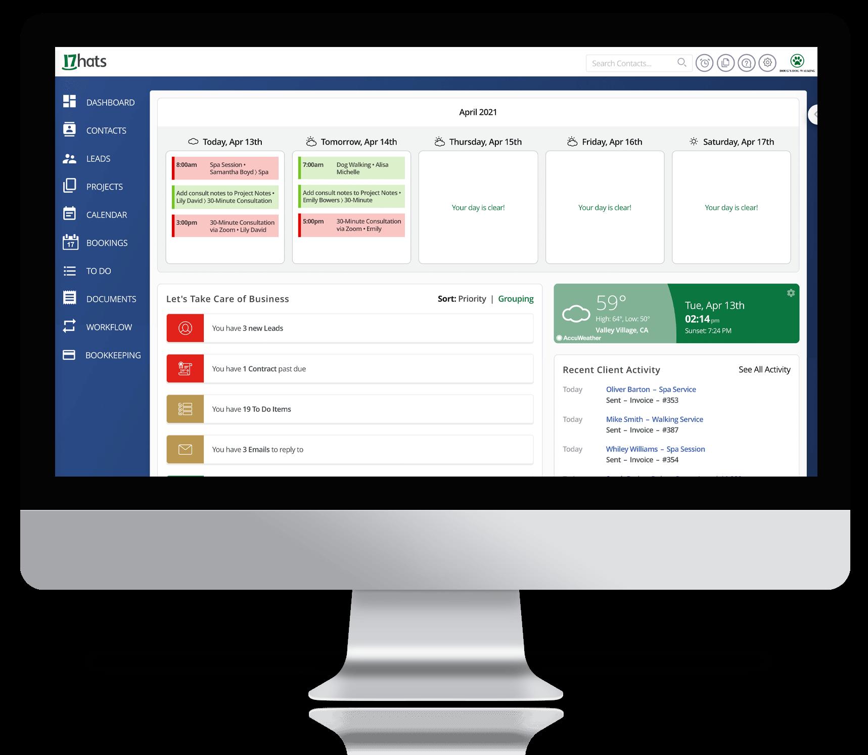 17hats Level Three Dashboard Small Business Automation Platform