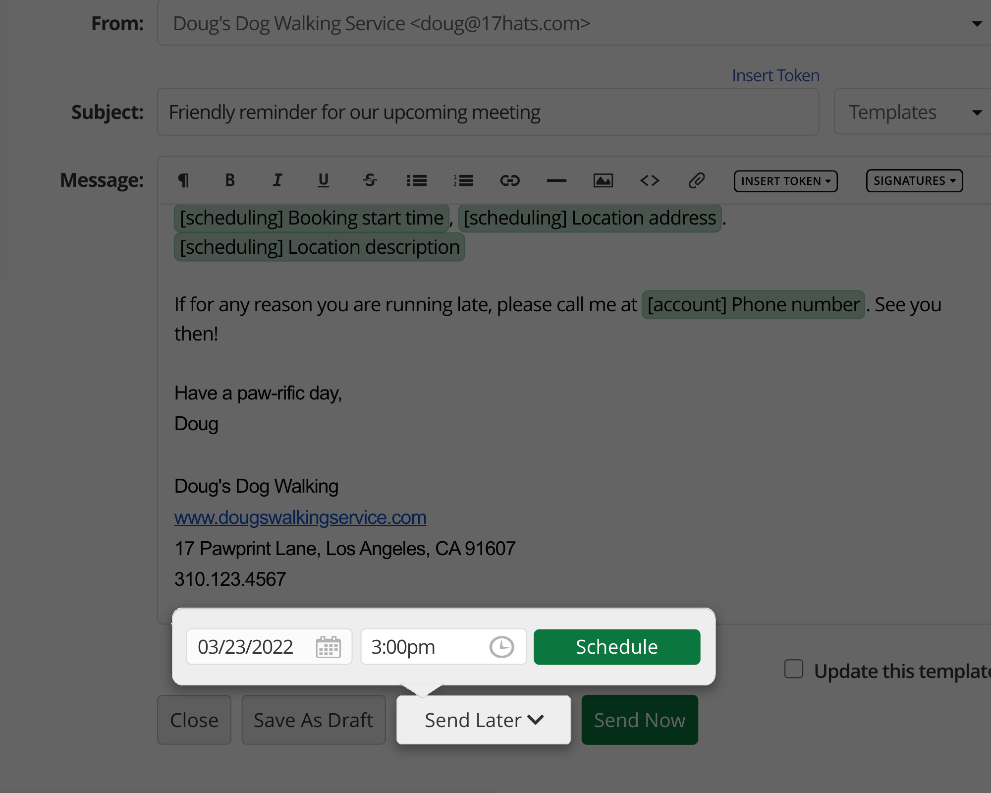 Scheduled Emails