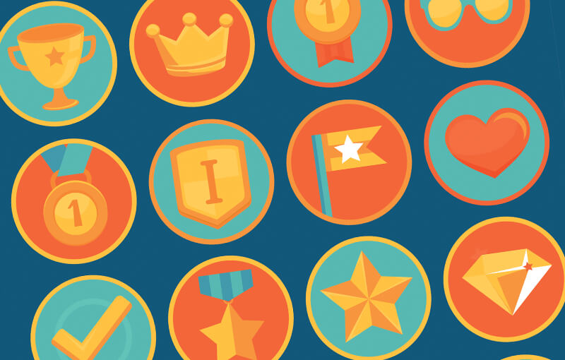 A bunch of colorful badges that show various types of progress and achievement.