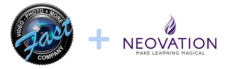 The Fast Company logo and the Neovation logo with a plus sign in the middle of the two logos.