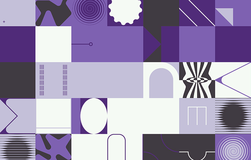 Five rows of squares. Each square is either dark purple, light purple, black, or white, in no particular order or sequence. Several of the squares have an abstract pattern or shape.