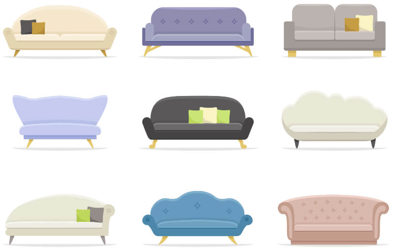 Nine different, colorful couches lined up in a 3x3 grid.