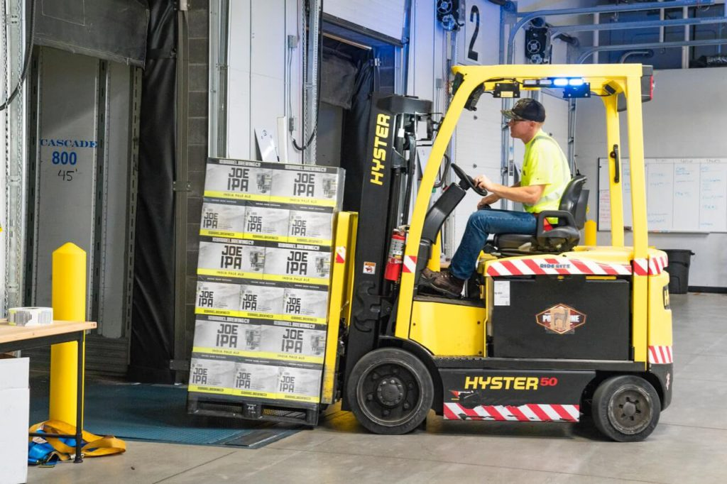 yellow forklift in warehouse for 3pl services