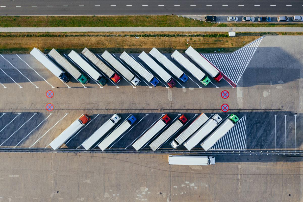 many trucks parked symmetrically