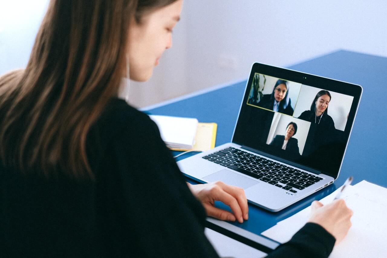 woman remote hiring via virtual meeting