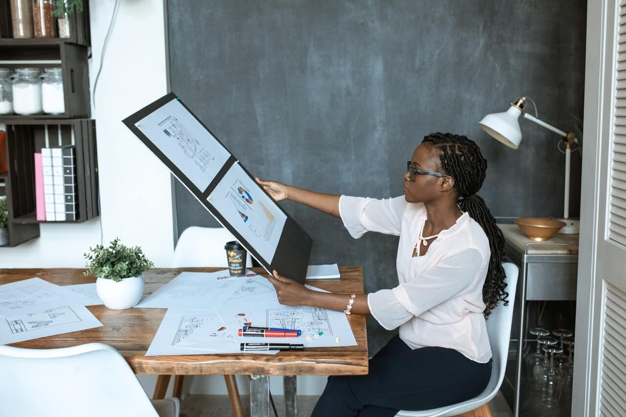 woman in a desk