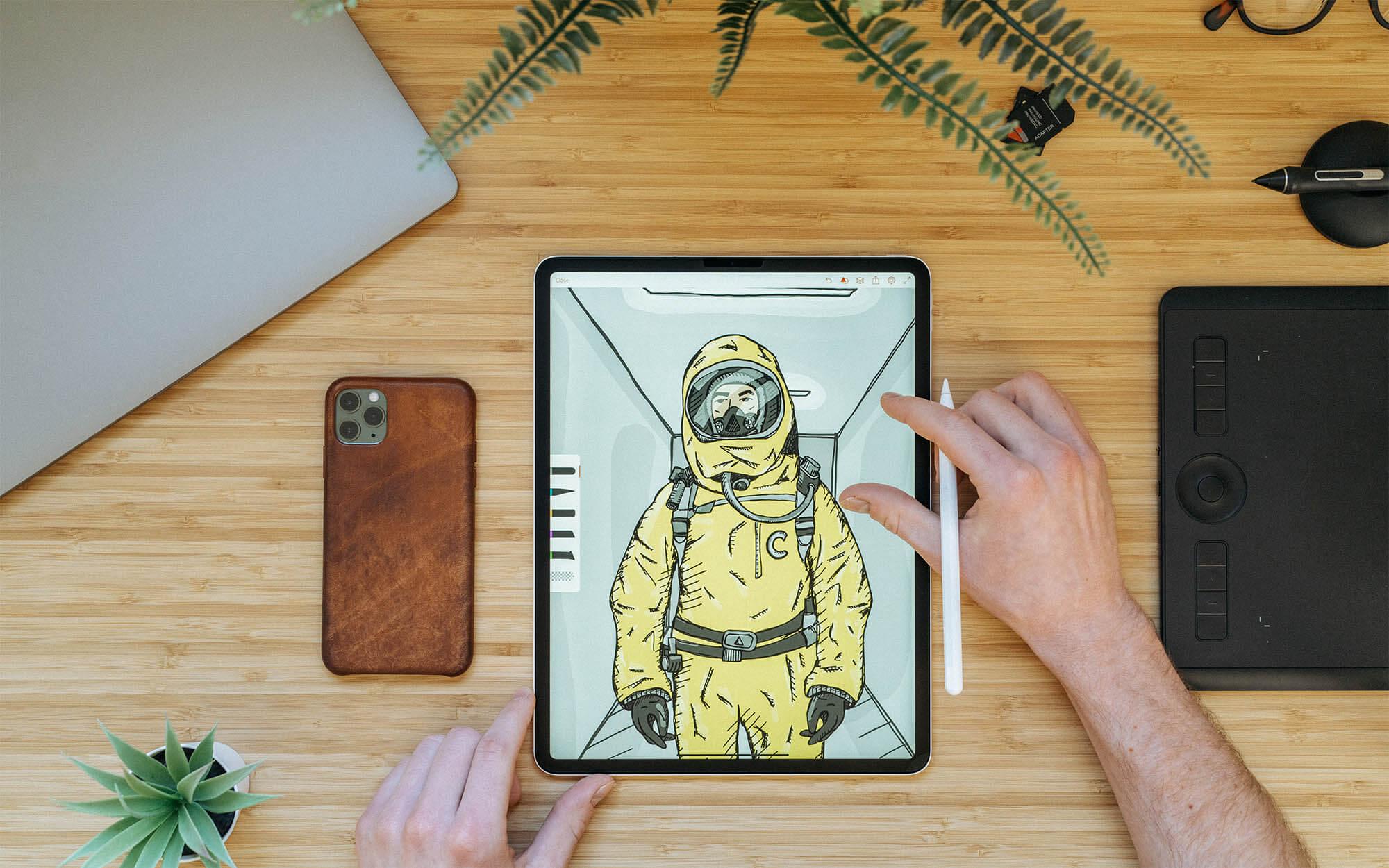 Person looking at illustration on ipad