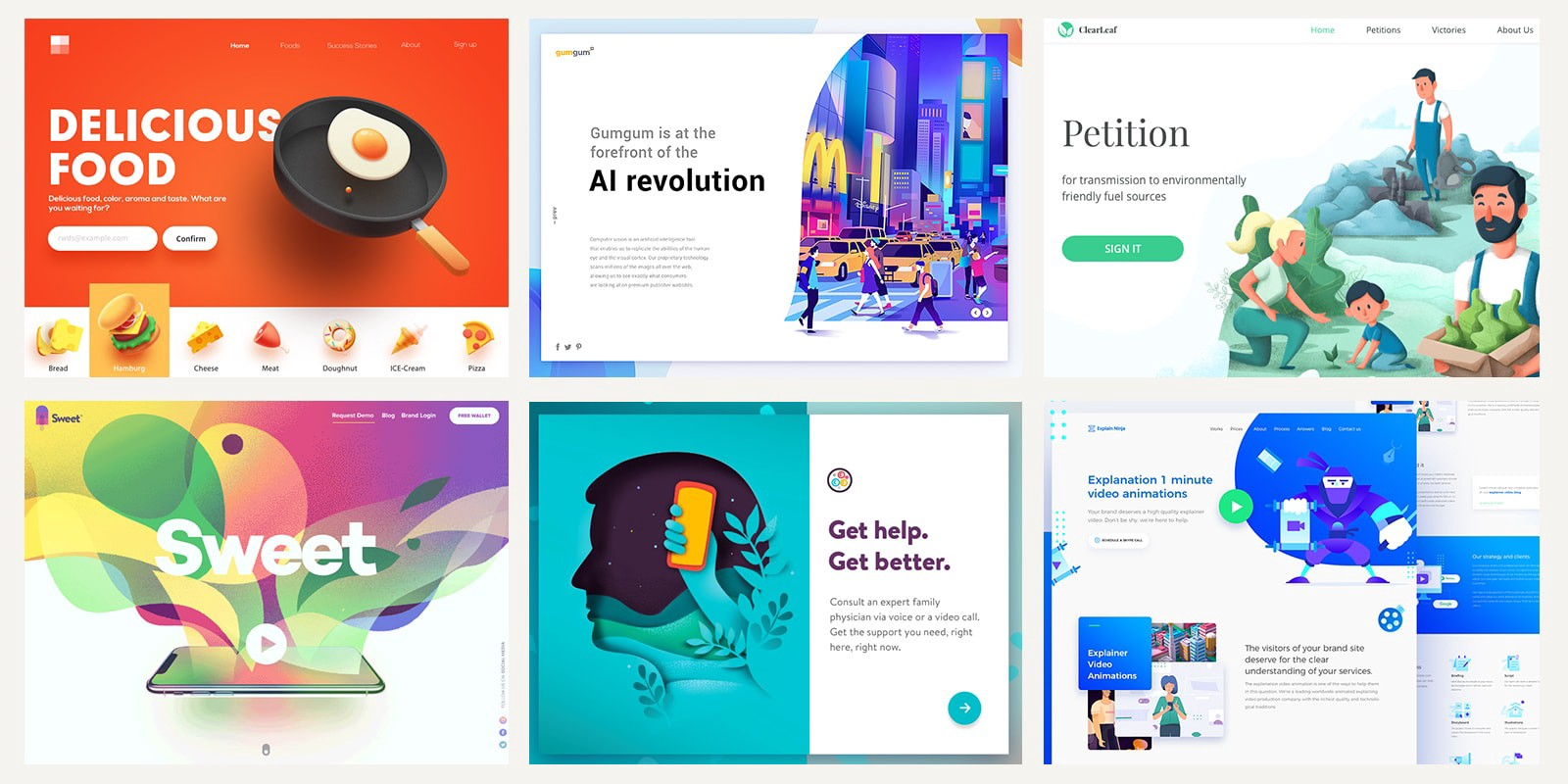collage of illustrated website screenshots