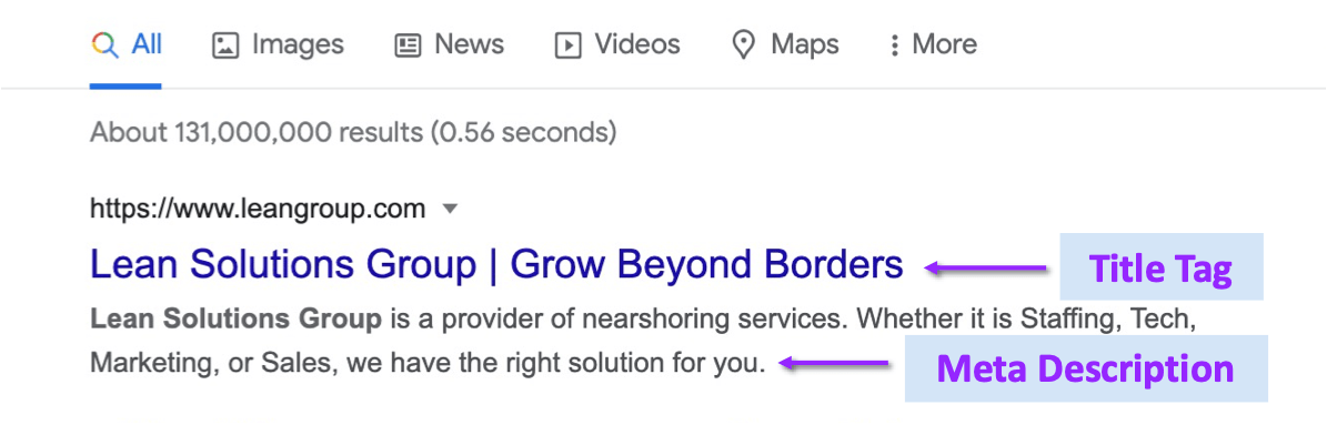 google search for the query lean solutions group