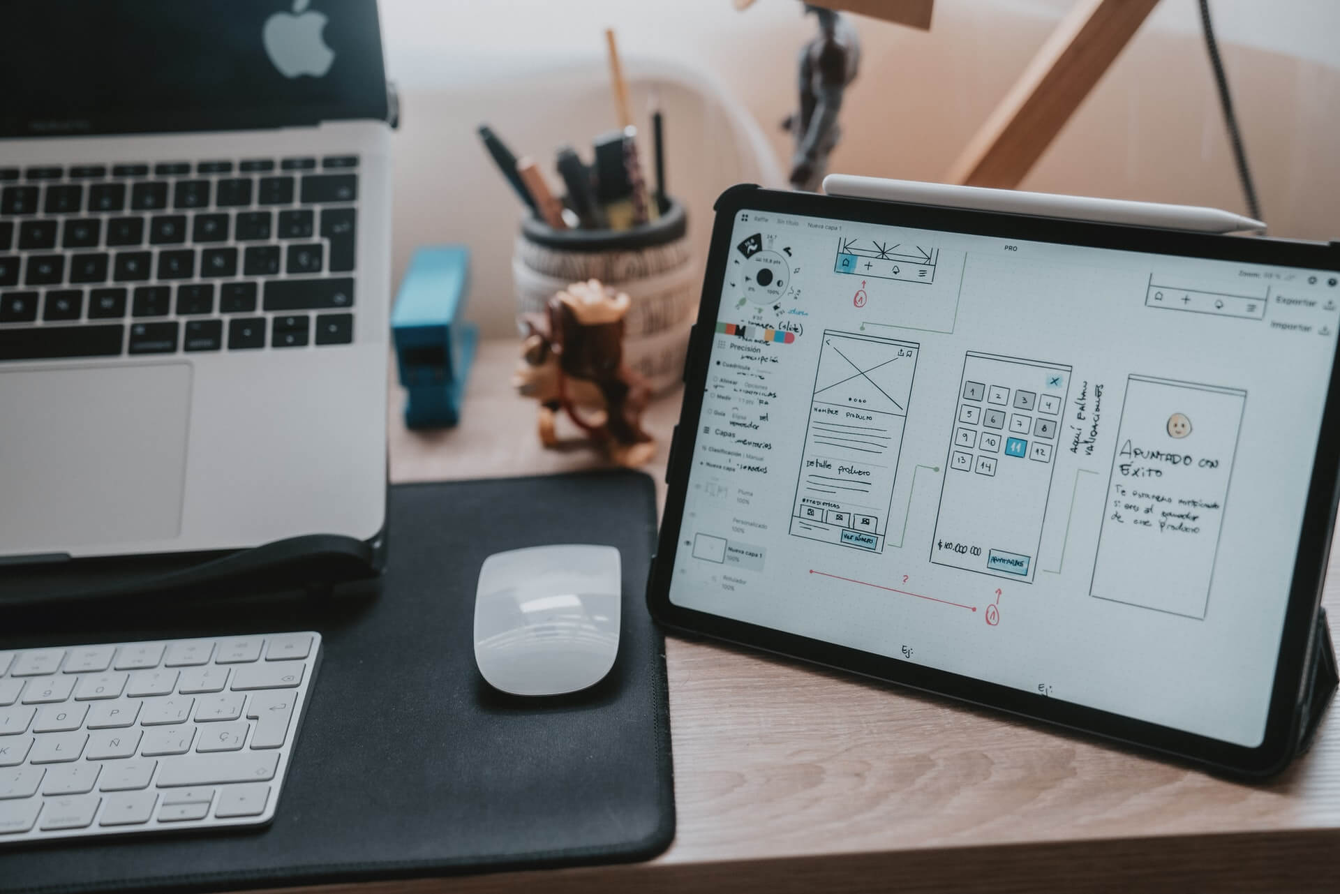 Ipad screen with diagrams for UX design