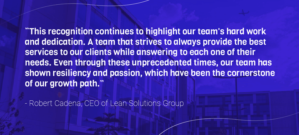 Quote from CEO of Lean Solutions Group