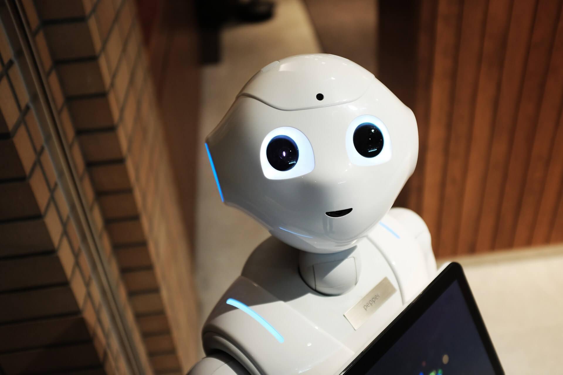 White robot looking at camera