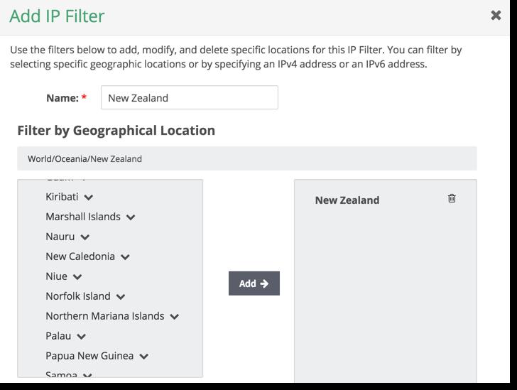 adding ip filter
