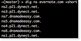 dig showing secondary dns