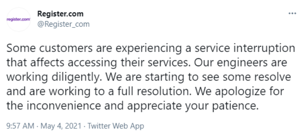 Register.com outage tweet response