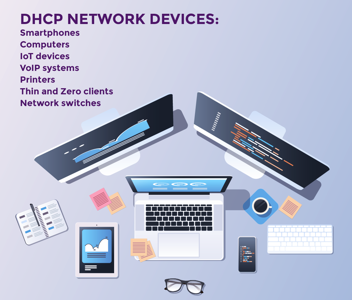 DHCP Network Devices - Smartphones, Computers, IoT devices, VoIP systems, Printers