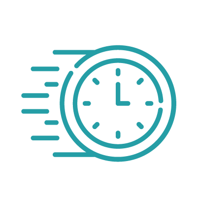 Icon displaying clock, fast payments
