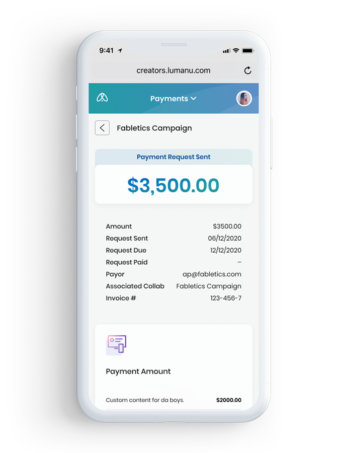 iPhone payment solution for creators