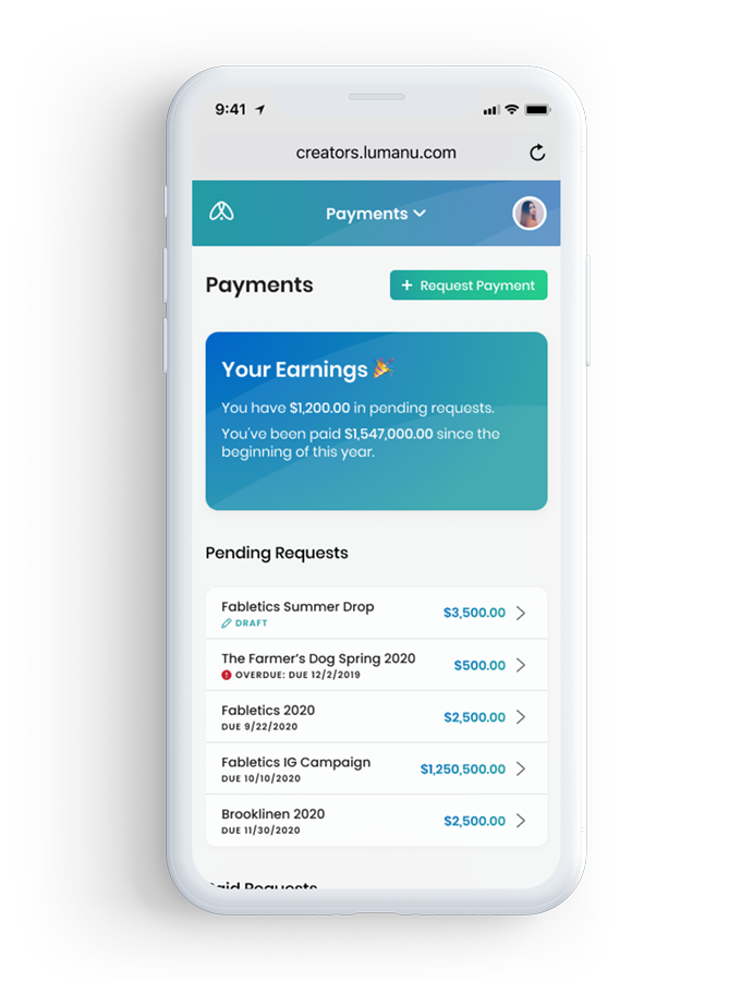 iPhone payment dashboard for creators