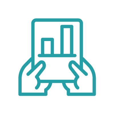 Hand icon, results-focused