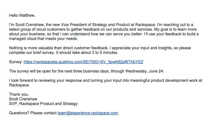 rackspace personalized email improves customer response rate