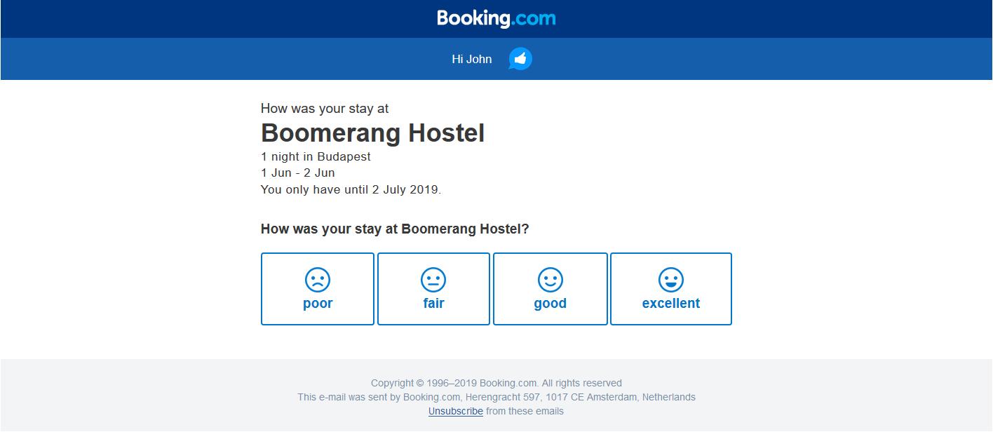 booking.com emoji customer feedback form