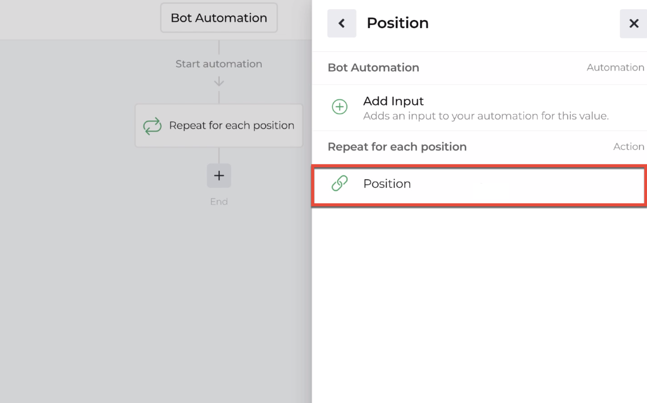 Screenshot of repeater action with position highlighted