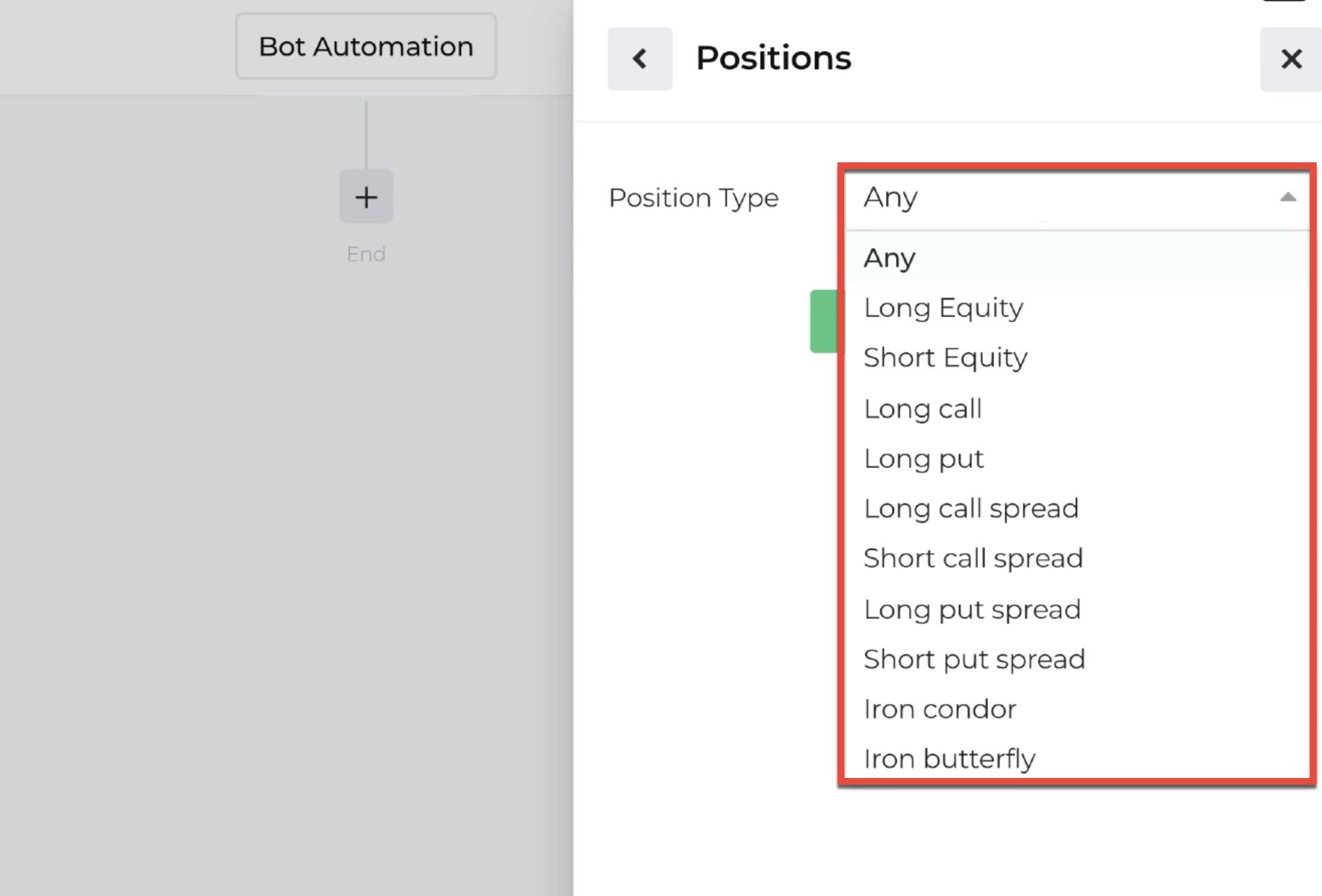Screenshot with position types highlighted available with the repeater action