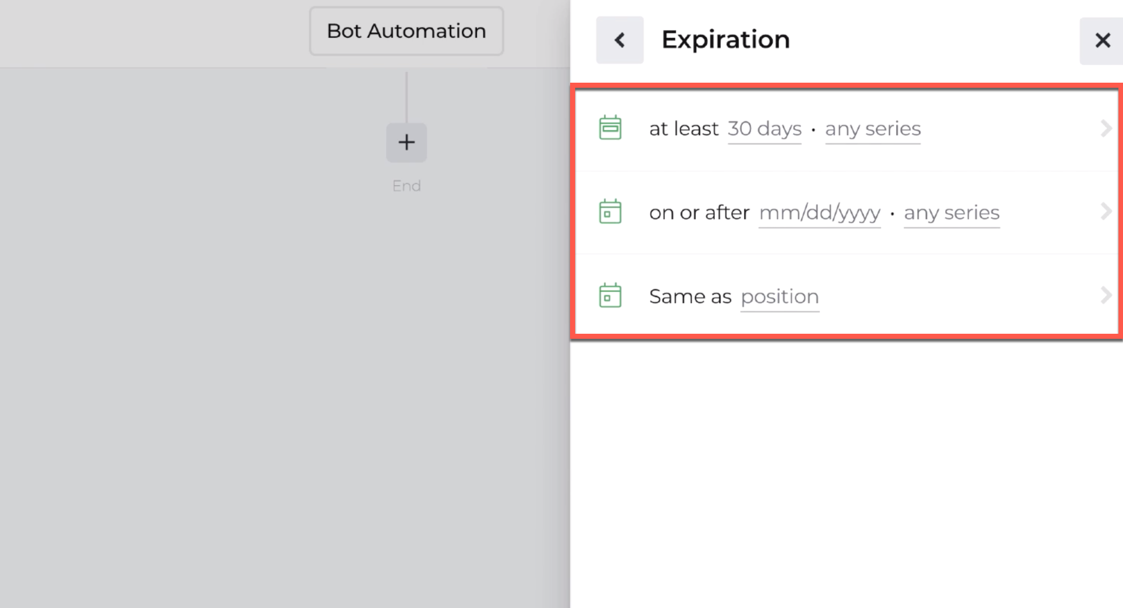 Screenshot displaying expiration options available with the open position action