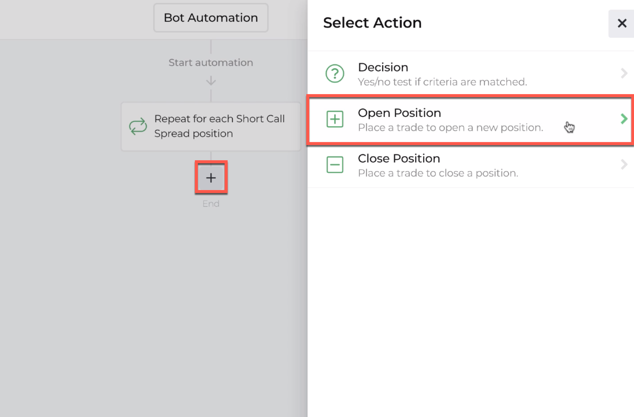 Screenshot highlighting selecting the plus sign for linking open positions