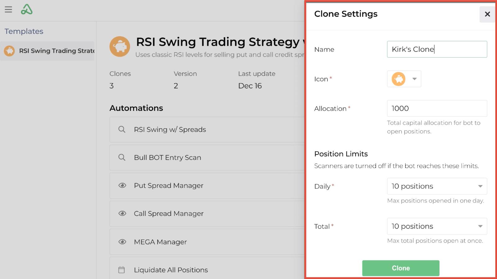 Screenshot highlighting the global settings for a new bot clone