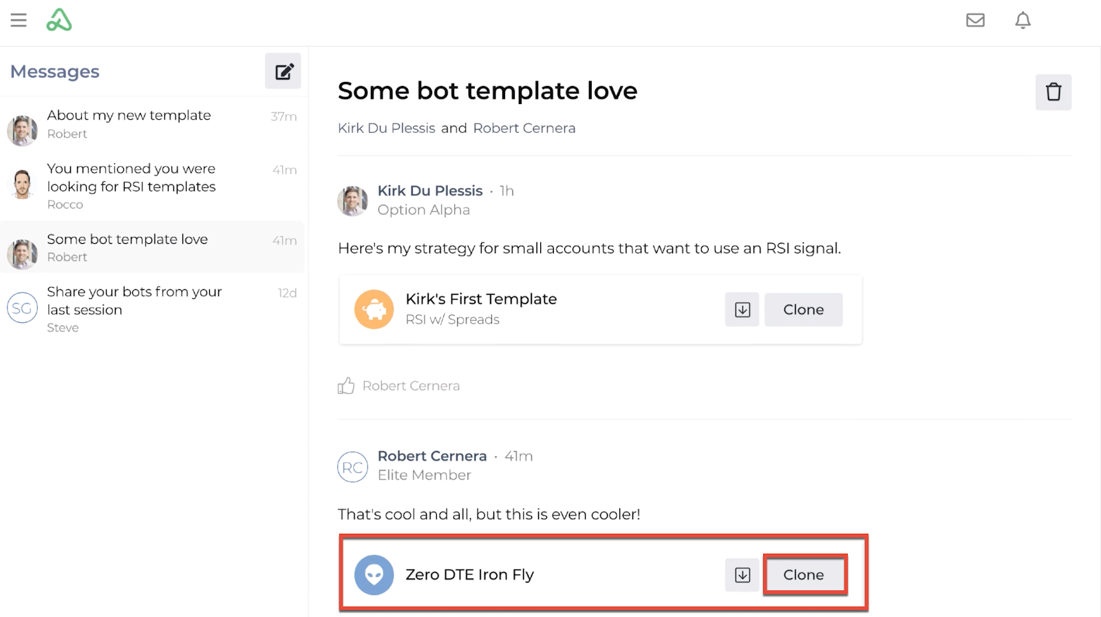 Screenshot highlighting the clone button on a shared template